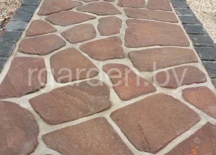 Песчаник Терракотово-красный галтованный для мощения